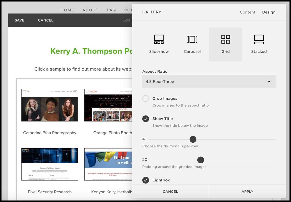 Kerry A. Thompson Blog - Portfolio Makeover, Grid-style gallery block