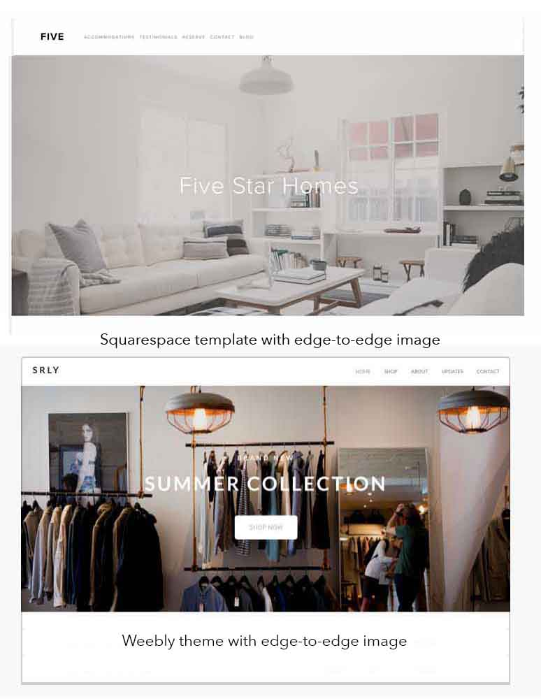 KerryAThompson.com Blog - Examples of Squarespace templates and Weebly themes with full-bleed, edge-to-edge images