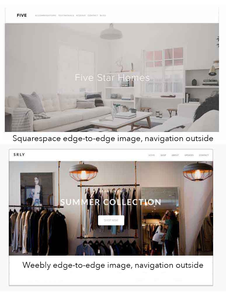 KerryAThompson.com Blog - Choosing Squarespace or Weebly templates that have wide images with navigation text outside the image