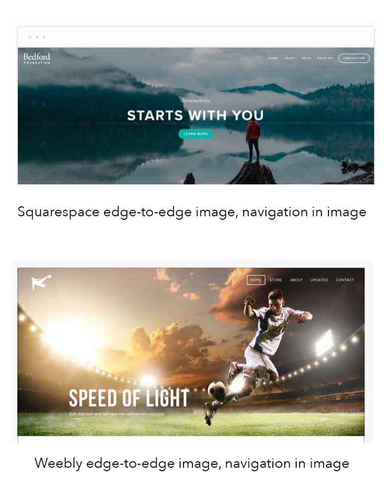 Kerry A. Thompson Blog - Choosing Squarespace or Weebly templates that have wide images with navigation text inside the image