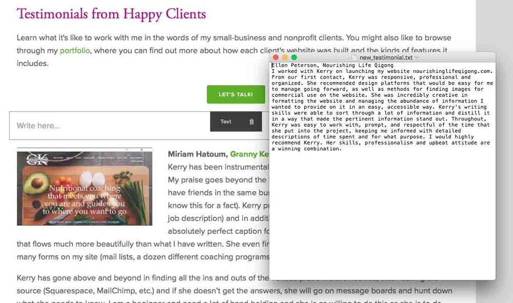 Copying prepared text into a text block on your website