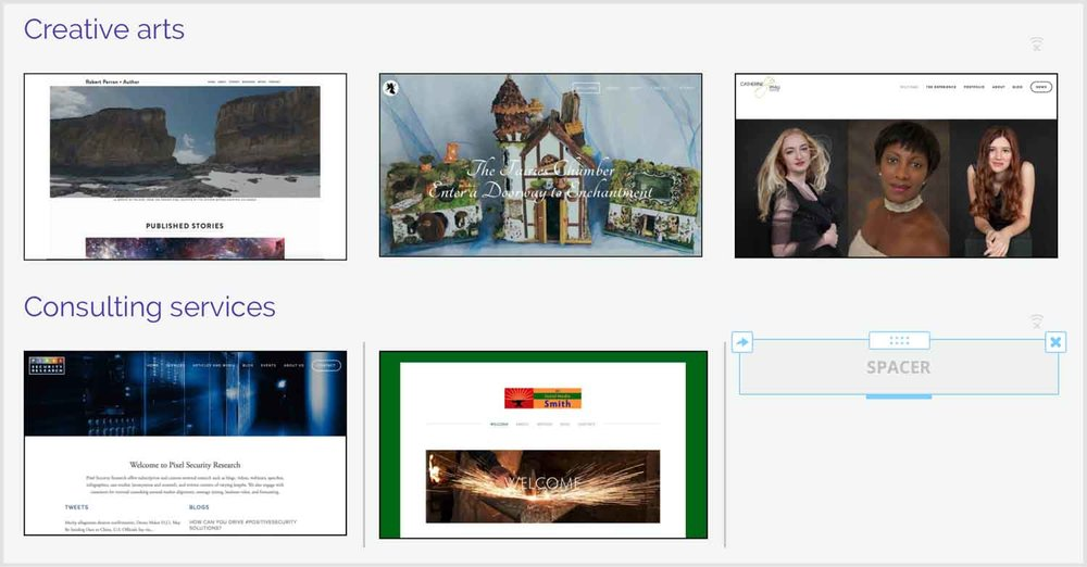 Example in Weebly of spacer block used to size images