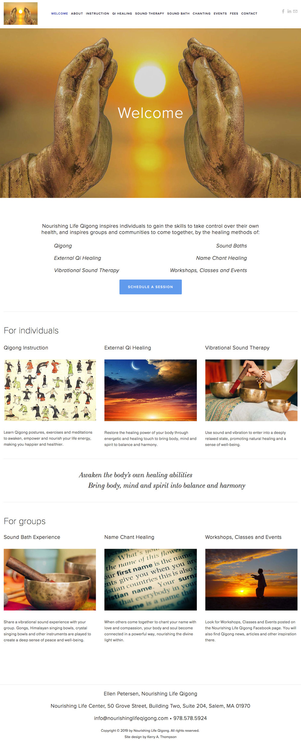 Nourishing Life Qigong  is a healing arts practice that has individual and group sessions as well as events and classes. The first paragraph summarizes the type of services the practice offers and the first button is a call to action to schedule a session. Scrolling down the page, rows of images and service descriptions can be clicked to go to other parts of the site.