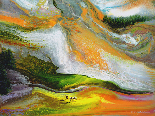 "Another example of a beautiful background made with liquid resin. Artwork: ""Greenfield"""