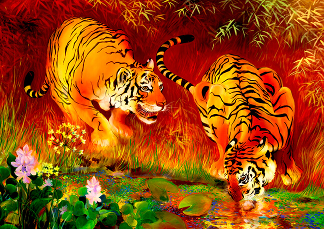 Save the Tigers watercolor asian tiger painting
