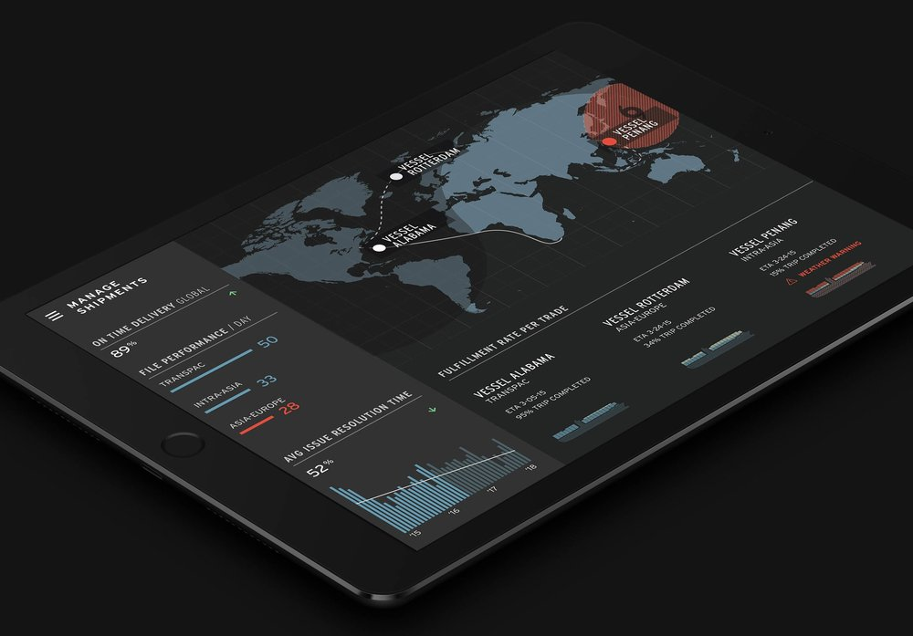 Track shipping - Pulling streams of live data onto one dashboard required a level of sophistication to create something simple enough to use, yet powerful enough to draw insights from. Proactive alerts inform a user if a shipment is delayed, allowing their supply chain to react, so no resources will be waisted.