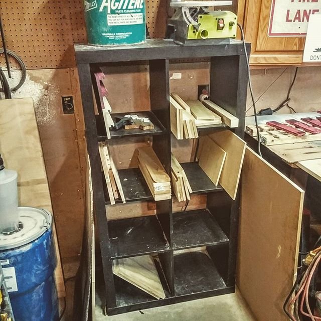 A small stock storage cabinet I picked up from a #hotel dumpster. One man's trash is another's treasure! #dumpsterdiving #free #freeisnice #repurpose #repurposed #storage #storagecabinet #woodshop #trashtotreasure