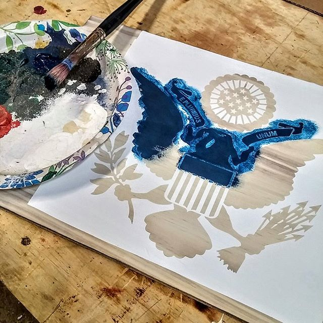 Doing some early morning stencil work. #stencils #painting #stencilpainting #america #eagle #stencil #sizzix #sizzixeclips