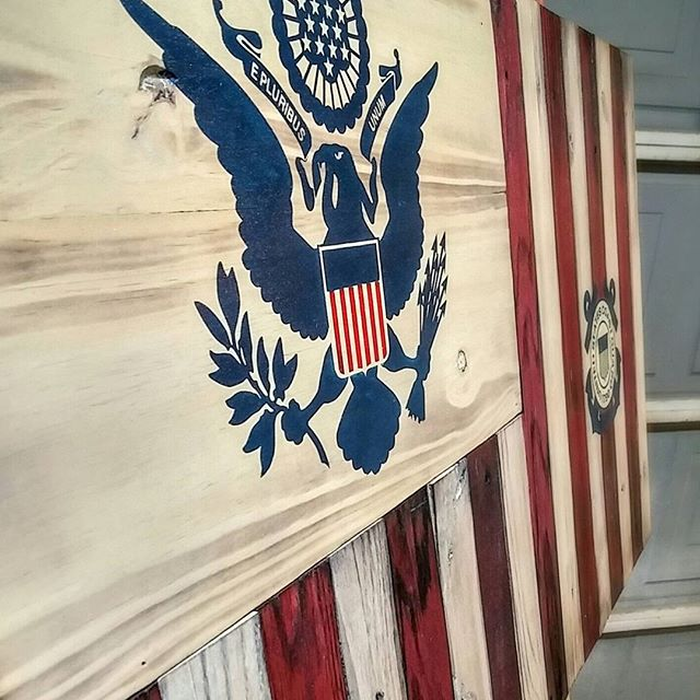 Hand painted wooden Coast Guard Ensign. Get yours at jonnycmercantile.com!  #uscg #woodenflag #coastguard #jonnychappsmercantile