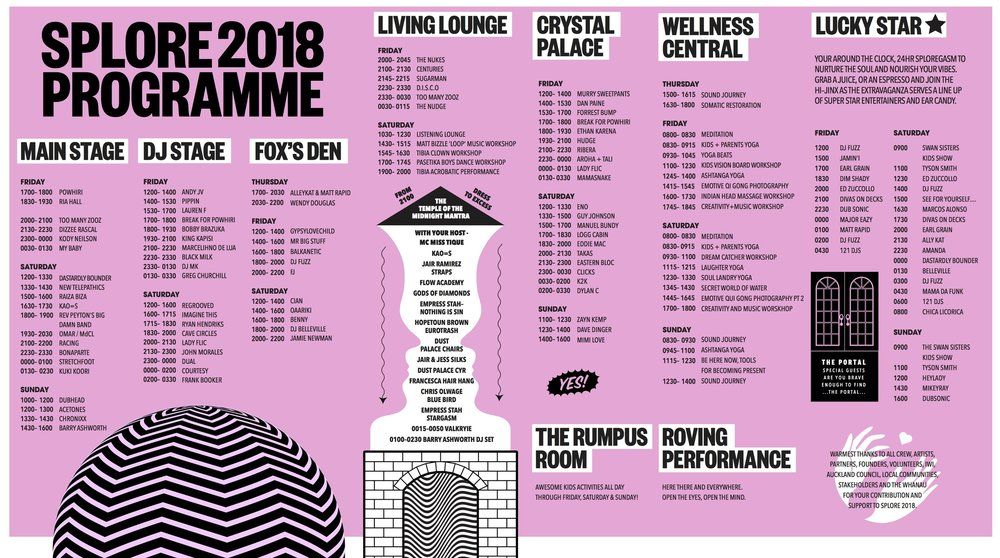 SPLORE 2018 PROGRAMME - CLICK TO ENLARGE