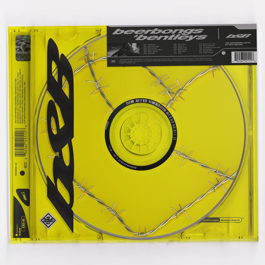 "Tracklisting for beerbongs & bentleys is as follows:   ""Paranoid"" ""Spoil My Night"" feat. Swae Lee ""Rich & Sad"" ""Zack and Codeine"" ""Takin' Shots"" ""rockstar"" feat. 21 Savage ""Over Now"" ""Psycho"" feat. Ty Dolla $ign ""Better Now"" ""Ball For Me"" feat. Nicki Minaj ""Otherside"" ""Stay"" ""Blame It On Me"" ""Same Bitches"" feat. G-Eazy & YG ""Jonestown (Interlude)"" ""92 Explorer"" ""Candy Paint"" ""Sugar Wraith"""