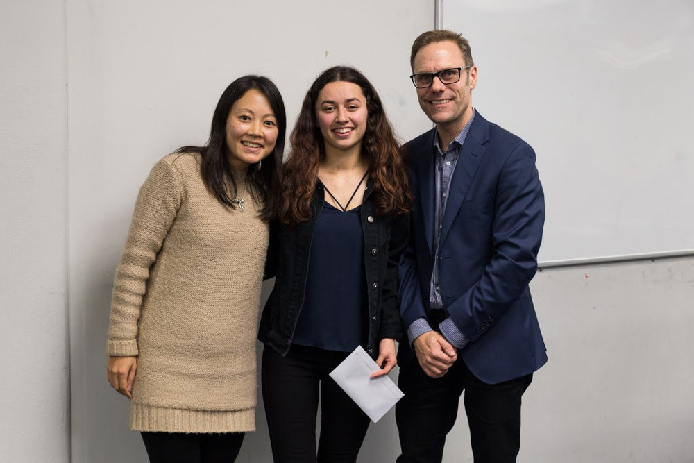IGNITE founder Savina Fountain (left), scholarship recipient Alexis Rowe (centre), Programme Manager - MAINZ Kingsley Melhuish (right) at the IGNITE graduation
