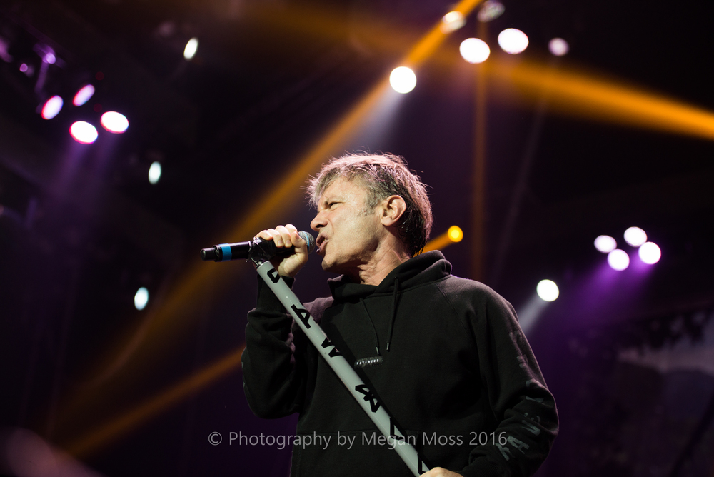 Bruce Dickinson performing with Iron Maiden at the Vector Arena (now Spark Arena) in Auckland on Sunday May 1st, 2016 - Photo by Megan Moss