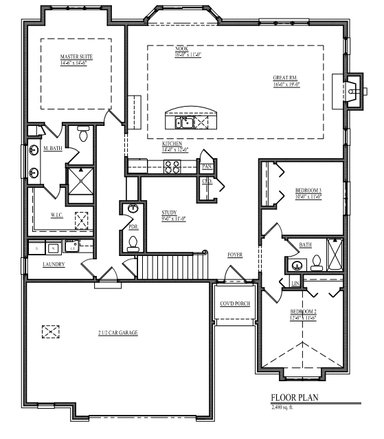 The Leo II Floorplan - Open Concept Ranch PNG.PNG