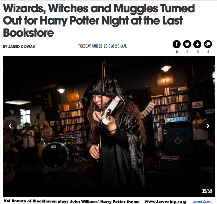 Photo by Jared Cowan for LA Weekly with Blackhaven at the Last Bookstore, DTLA