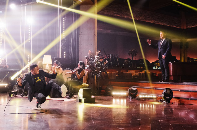 "Link to the Billboard article here:    Watch Gallant Give a 24K Performance of 'Weight in Gold' on 'The Late Late Show'  11/3/2016 by  Gil Kaufman    Gallant  has gotten co-signs from  Elton John  and  Seal  thanks to his signature soaring falsetto and high-energy live show. Well, the rising R&B star proved once again on Wednesday night (Nov. 2) that the praise is well-placed with a dramatic, emotional take on his popular single ""Weight in Gold"" on  The Late Late Show .  Backed by a string section and full band and seated on a velvet couch in the middle of a candle-lit living room set, the singer opened the performance in the shadows, emerging into the light as the stage exploded in rotating spotlights during the song's gilded chorus. Drawing whoops from the studio audience when he unleashed those high notes, the singer's urgency rose as the song proceeded, leading up to a bizarre moment when he took a moment to pour some water from a plastic bottle into a prop plant. He brought it home with a series of emphatic spins and a leap onto the couch as the music receded and and he dropped to his knees for a big a cappella falsetto finish."