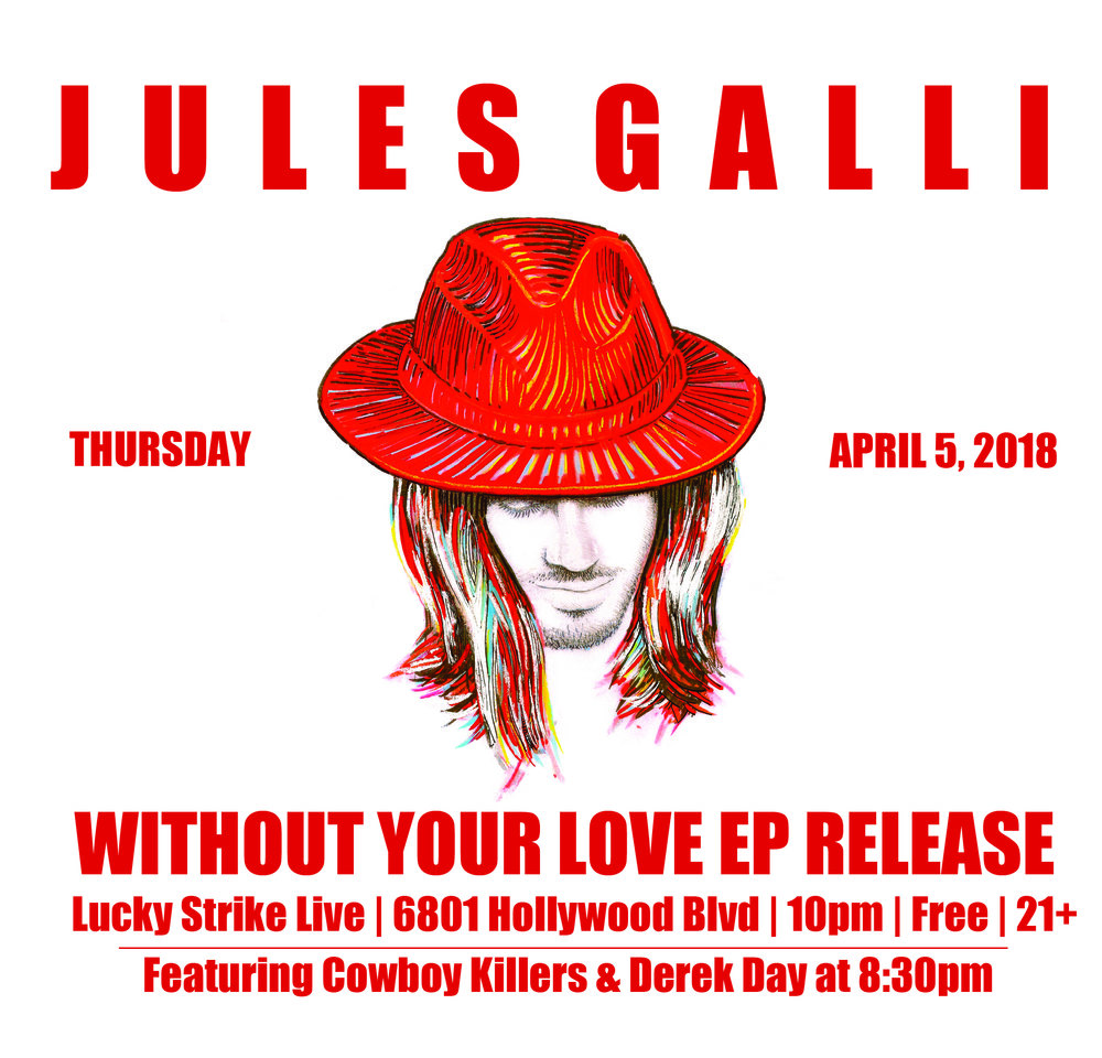Full Jules Galli EP released 4/5/18! - So proud and excited that the entire Jules Galli EP is now available everywhere online for download and streaming! Thank you so much to all the fans and friends who packed the house to celebrate with us! Next full band show 4/19!!