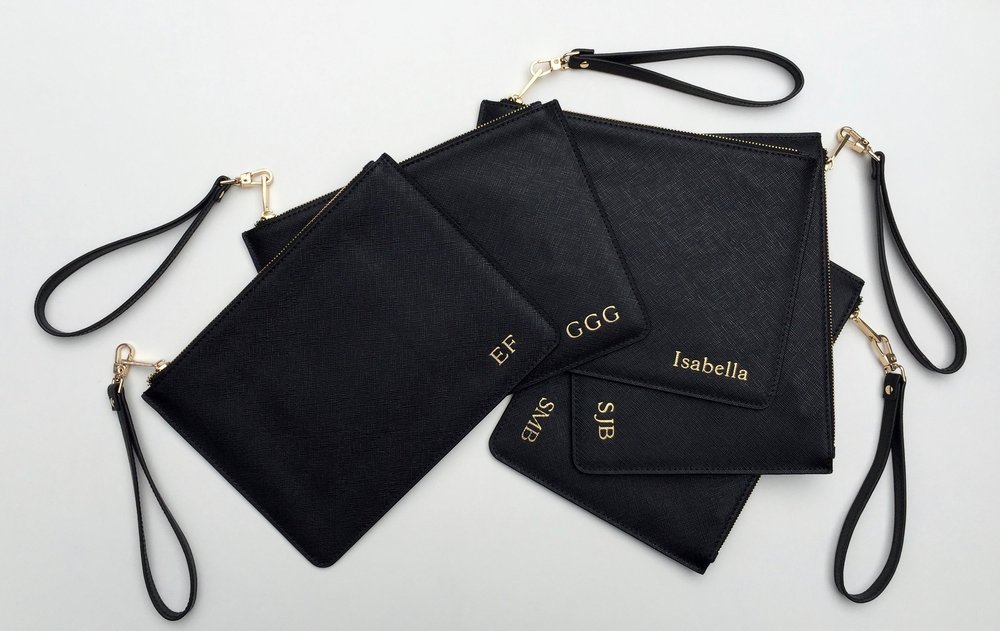 Classic Black Saffiano Leather Pouches