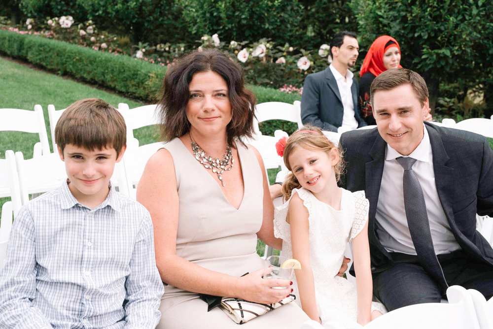 Candid photo of family at wedding in toronto