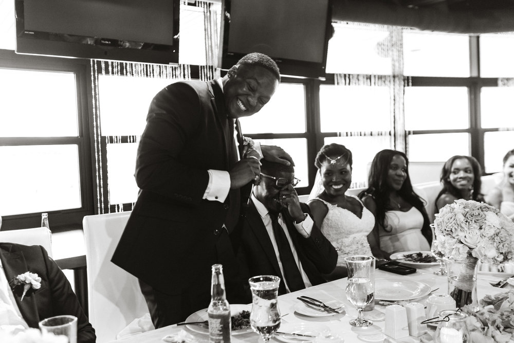 Wedding photograph of laughter