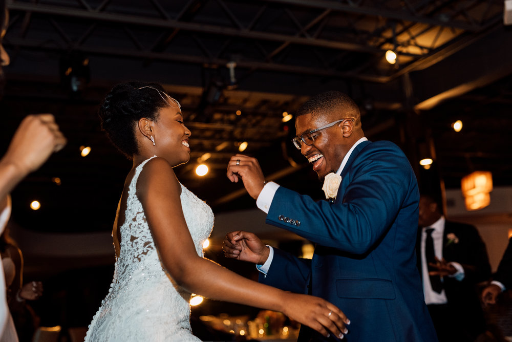 black Dancing couple at a wedding in toronto by photographer