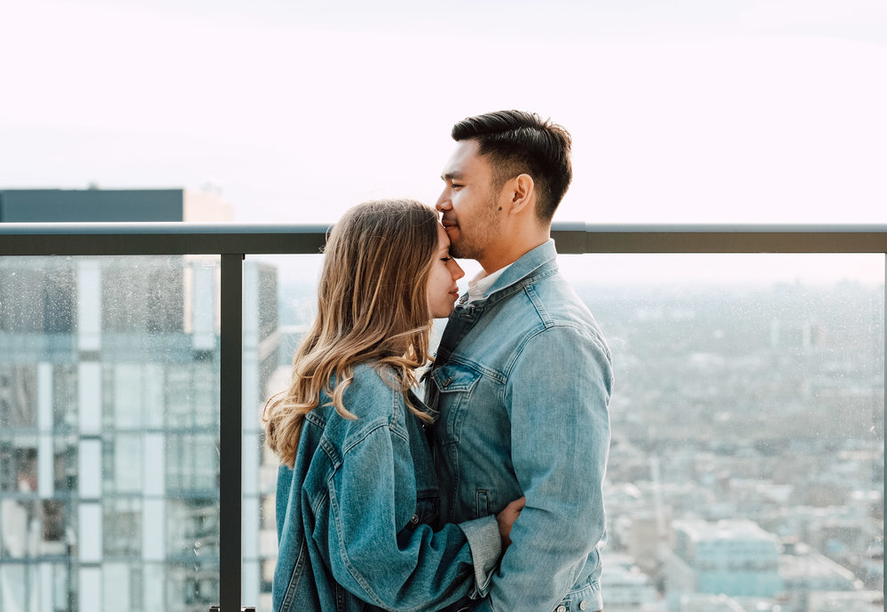 rooftop engagement photoshoot