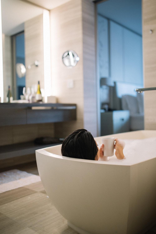 Coffee in bubble bath luxury hotel by a social media photographer