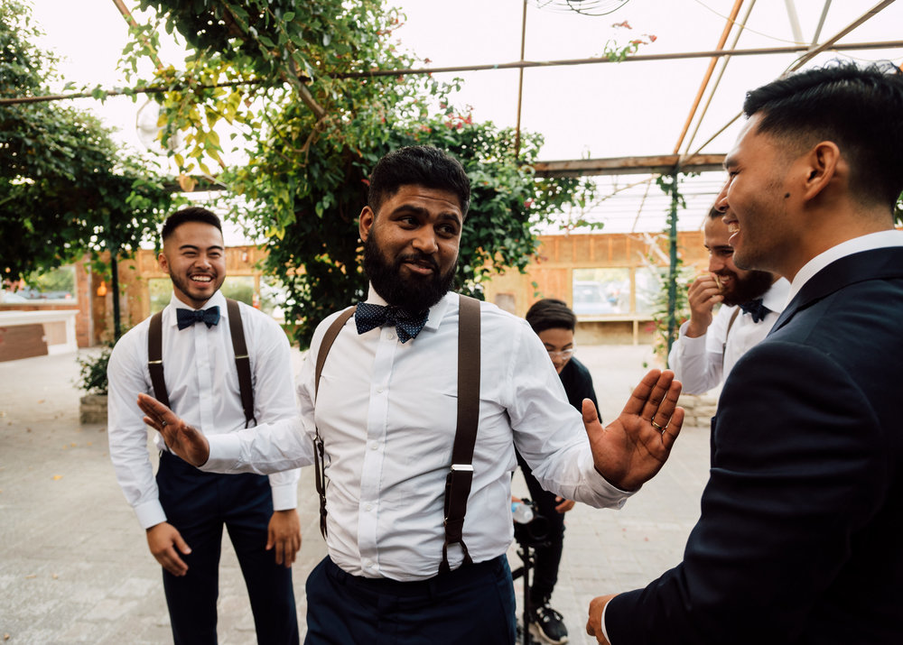 funny groomsmens photography at madsens greenhouse