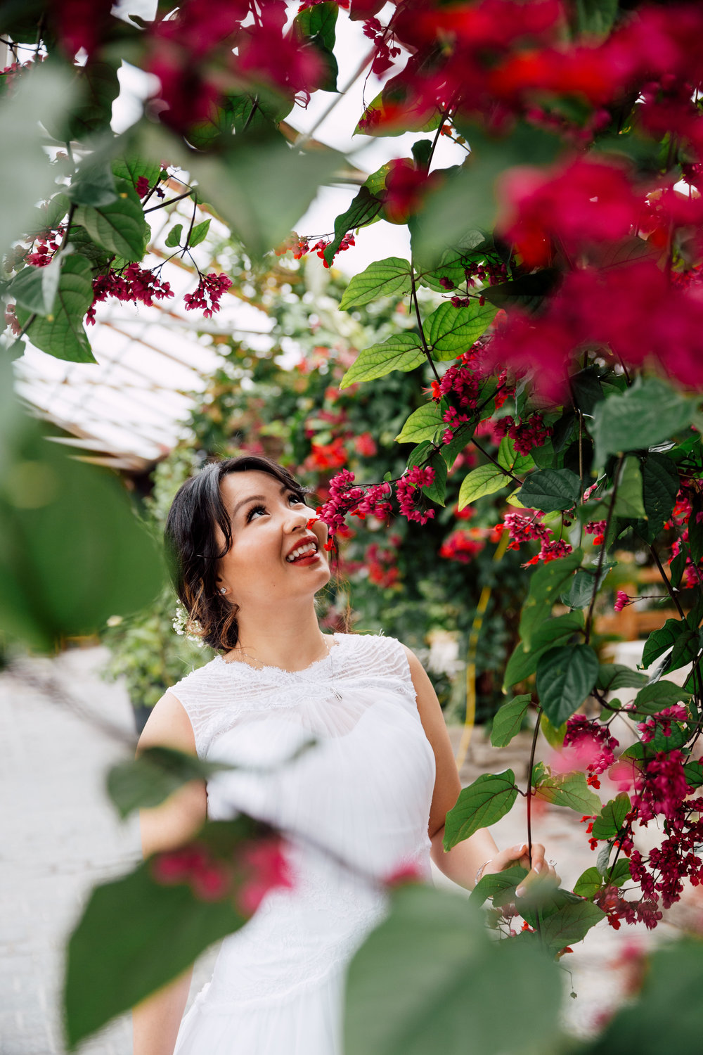 Wedding Photography of bride at Madsens Greenhouse
