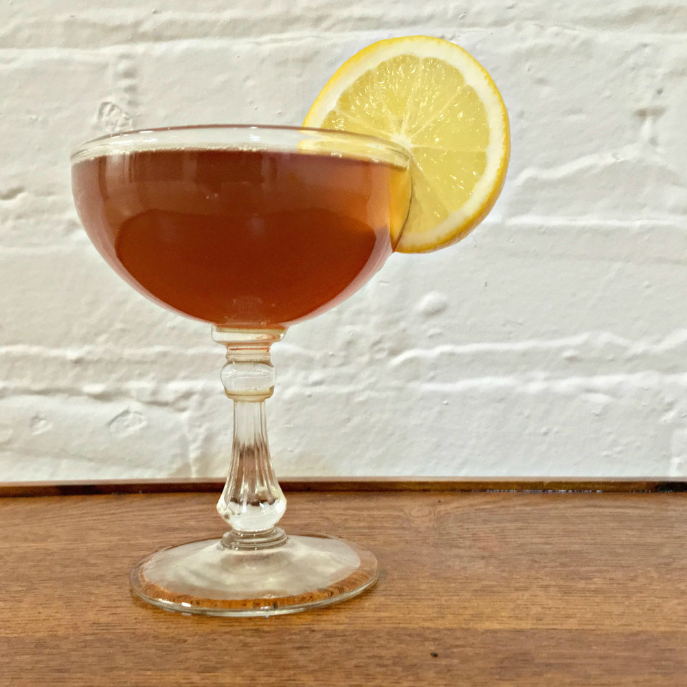 Red Baroness    1 oz  D.L. Franklin Vodka  ½ oz  Haint Absinthe  ½ oz    Pearl Soda Co.       Vanilla Rooibos Tea Syrup     2 dashes  Aviation Lavender Bitters from Portland Bitters Project Top with a splash of soda water and a squeeze of lemon