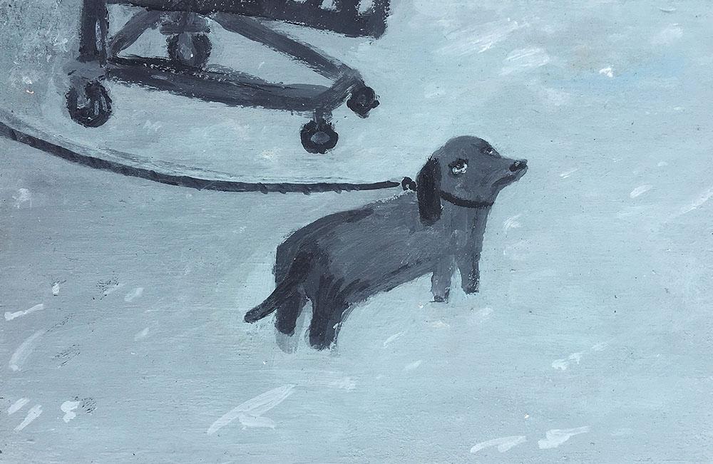 Dog at Ikea, 2018,Acrylic on Wood,5.5X3.5 inches.jpg