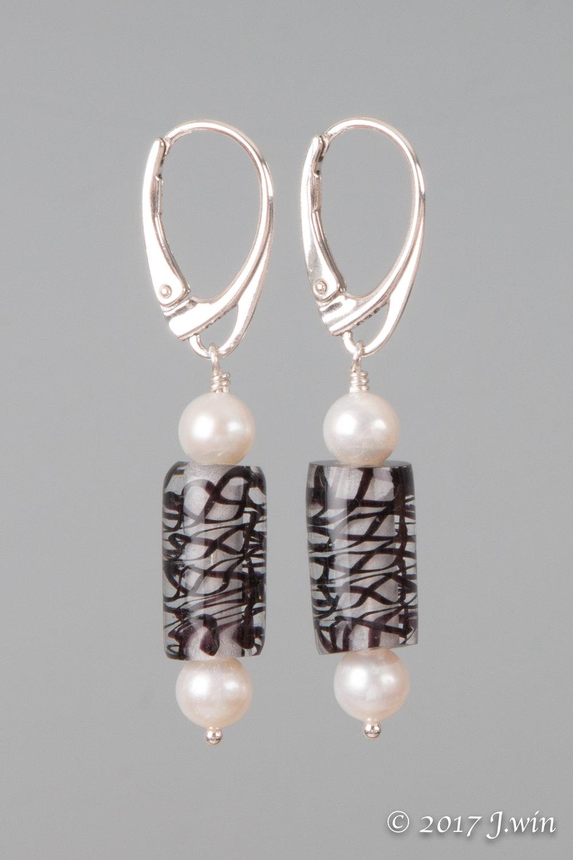 Pearl and glass twist earrings
