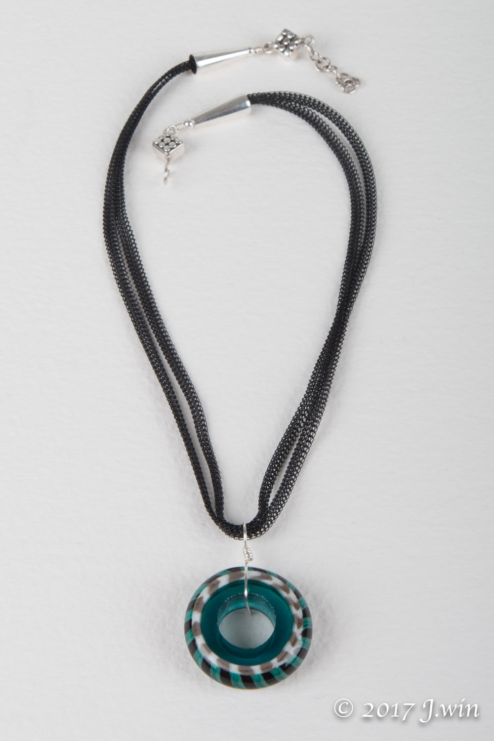Hand made glass disc pendant necklace