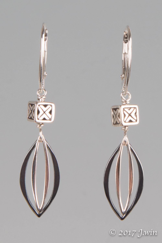 Sterling silver marquis earrings