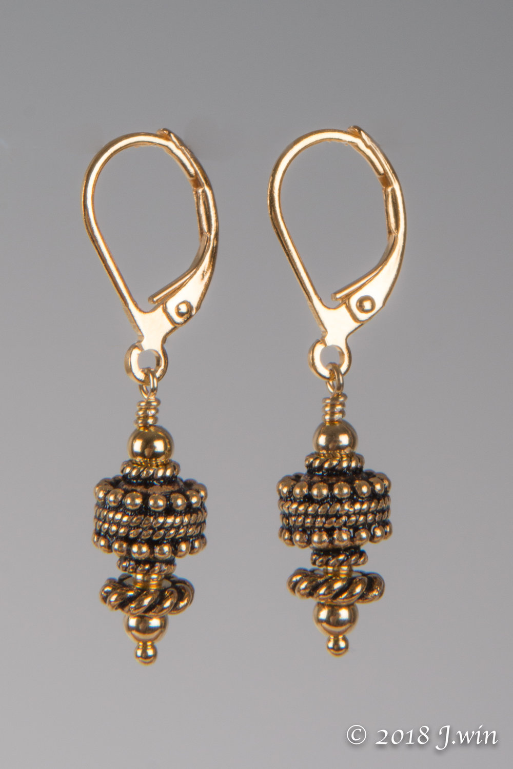 gold lever back earrings
