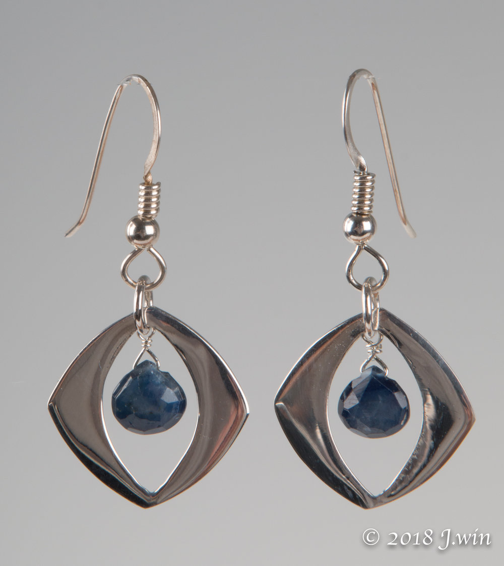 Sapphire and silver earrings