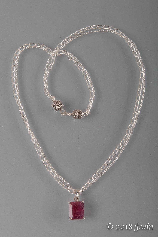 Square baguette cut Ruby pendant necklace