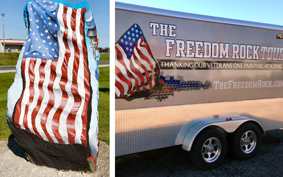 The Freedom Rock is a salute and thank you to all of the veterans.