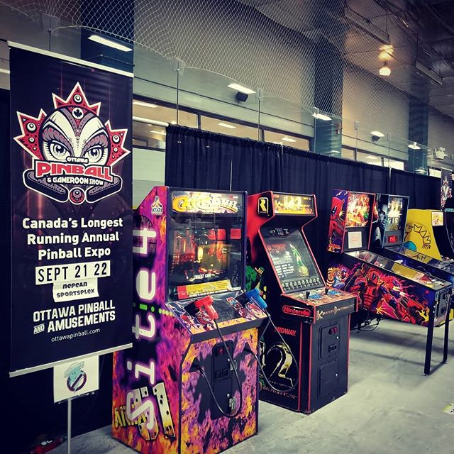 The Arcade is set up and ready for the @ottawageekmarket this weekend! Take a break from shopping and shoot some evil clowns and zombies,  and go for a #highscore on #Deadpool pinball from @sternpinball #ottawapinball #ottawaevents #geekmarket
