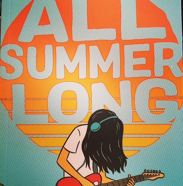 "On this week's episode-our favorite graphic novels of 2018 - including ALL SUMMER LONG! I loved this graphic novel for a lot of reasons but one of them was that it features a friendship between a girl and boy that doesn't ever fall into that trope of ""well, maybe things are changing because you two really just have crush on each other!"" Nope! It's real, platonic – and has rocky parts – but it's not a stepping stone to a love interest.  And I love the summery creamsicle orange palette and how Bina develops a ""contact British accent"" from watching too much Netflix. 😂"