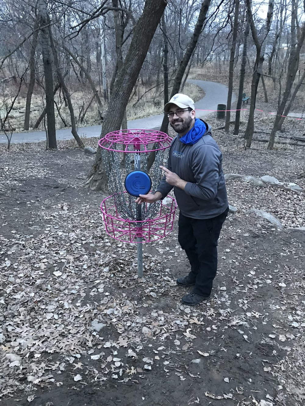 Aaron Palm with an Anode ace on hole 14 at Acorn Disc Golf Park in Roseville, MN.
