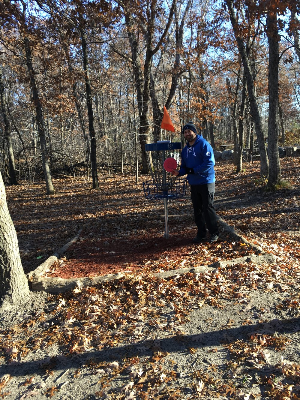 Aaron Palm with an Axiom Envy ace on hole 6 at Blue Ribbon Pines in East Bethel, MN.
