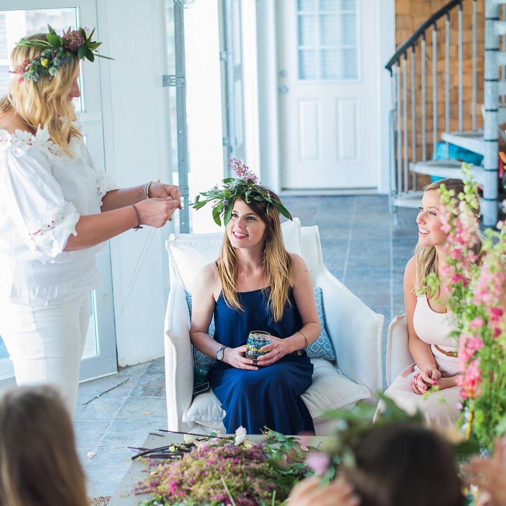 charleston bachelorette party flower crown making