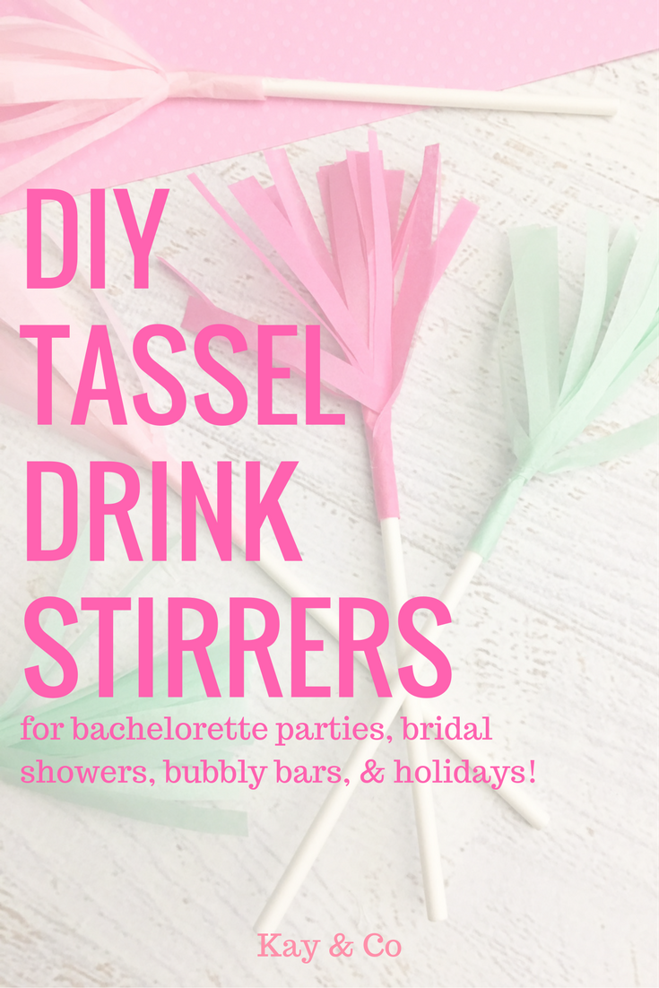 bachelorette party DIY tissue paper drink stirrers