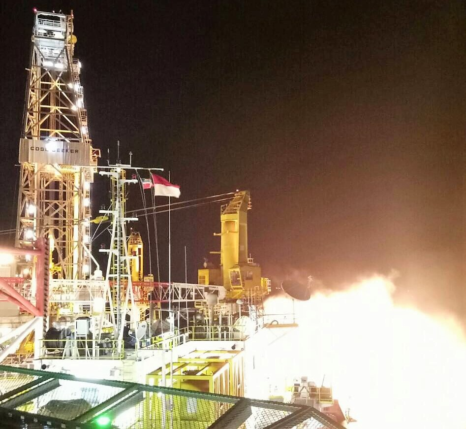 Flaring natural gas during testing of the Mako South - 1 well