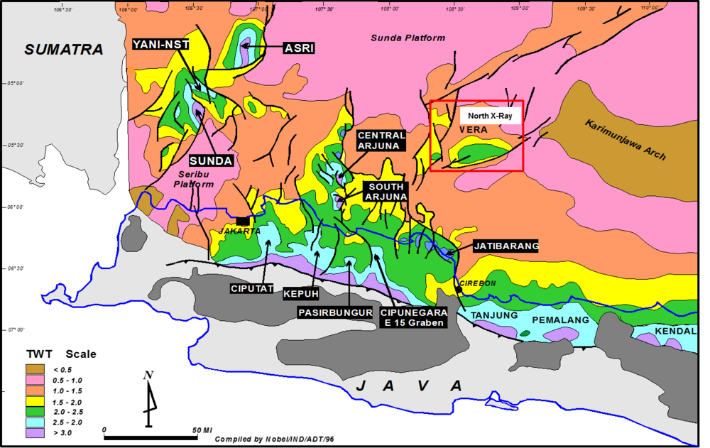 Basement time structure map of NW Java showing petroleum sub-basins