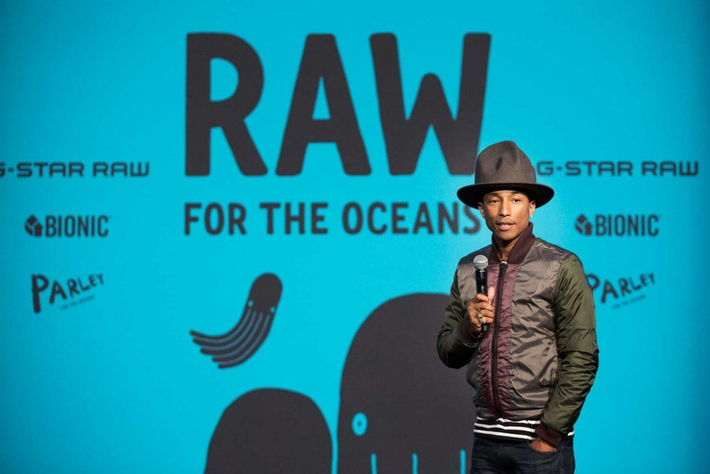 Recording Artist and Creative Director of Bionic Yarn Pharrell Williams speaks at an event to announce 'RAW for the Oceans', a long-term collaboration between Bionic Yarn and G-Star turning ocean plastic into Denim, at American Museum of Natural History on February 8, 2014, in New York City.