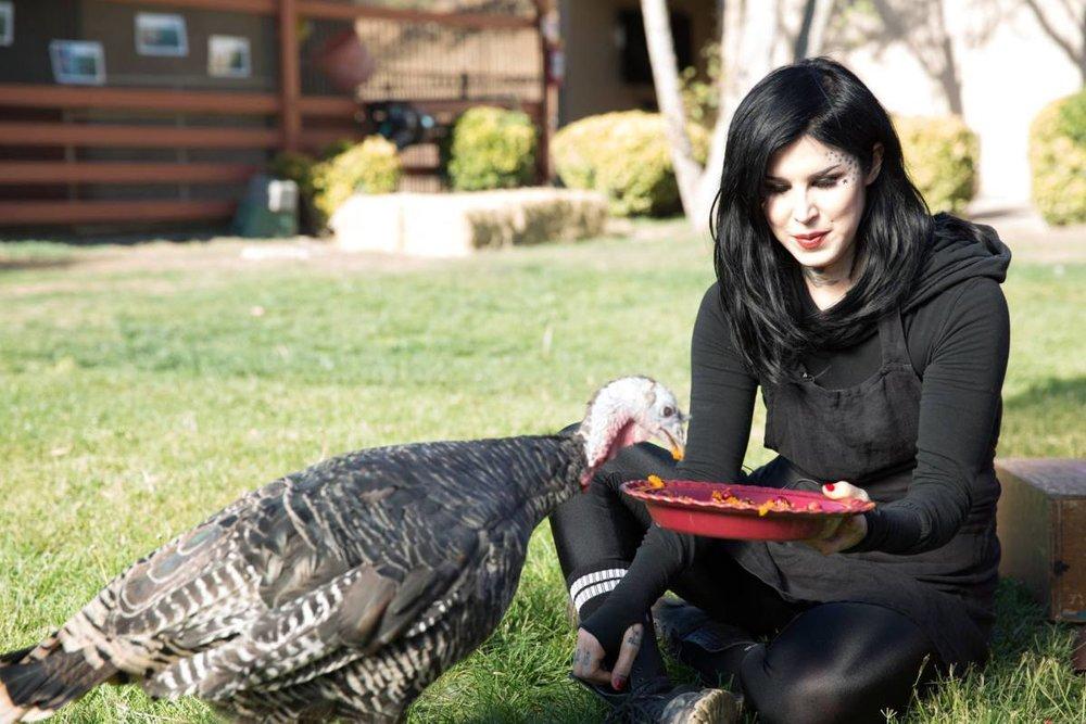 Kat Von D at    Farm Sanctuary    in November 2016 celebrating turkeys as #friendsnotfood (credit: farm sanctuary)