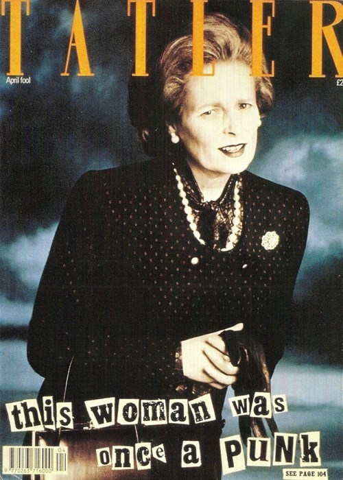 Vivienne Westwood as Margaret Thatcher, Cover, Tatler, April 1989. (credit: Michael Robert)