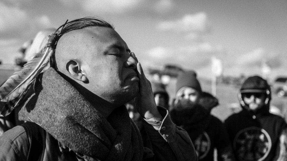 Keytha Fixico traveled from Arizona to volunteer at Standing Rock and protect people on the front line. (credit: Austin Peck/RYOT)